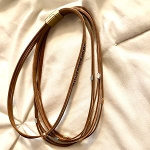 Brown leather detailed boutique necklace